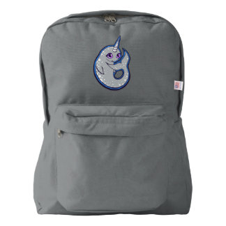 Gray Narwhal Whale With Spots Ink Drawing Design Backpack