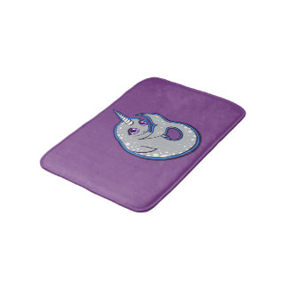 Gray Narwhal Whale With Spots Ink Drawing Design Bathroom Mat