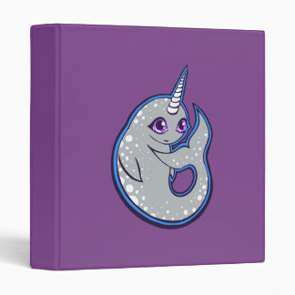 Gray Narwhal Whale With Spots Ink Drawing Design Binder