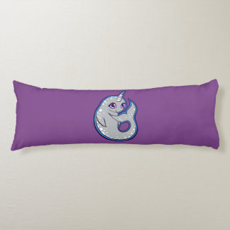 Gray Narwhal Whale With Spots Ink Drawing Design Body Pillow