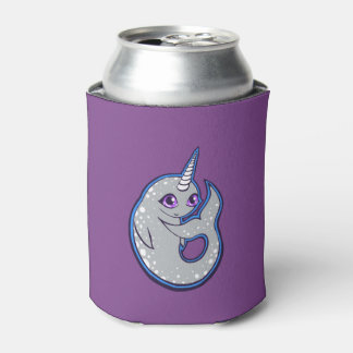 Gray Narwhal Whale With Spots Ink Drawing Design Can Cooler