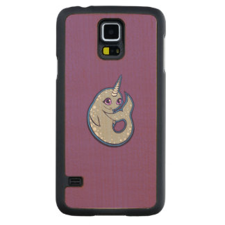 Gray Narwhal Whale With Spots Ink Drawing Design Carved® Maple Galaxy S5 Slim Case