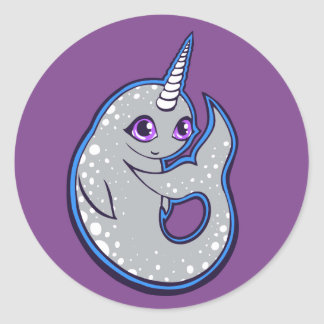 Gray Narwhal Whale With Spots Ink Drawing Design Classic Round Sticker