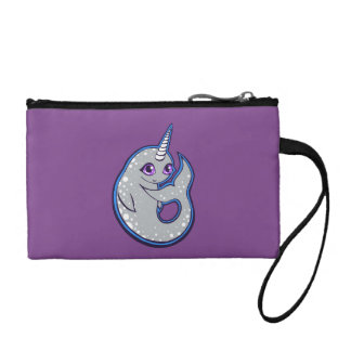 Gray Narwhal Whale With Spots Ink Drawing Design Coin Wallet