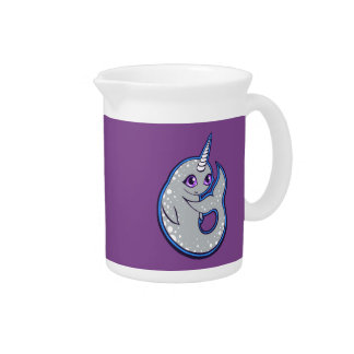 Gray Narwhal Whale With Spots Ink Drawing Design Drink Pitcher