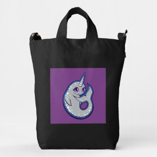 Gray Narwhal Whale With Spots Ink Drawing Design Duck Canvas Bag