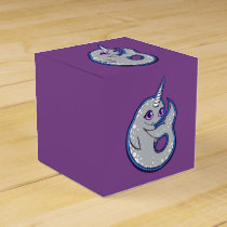 Gray Narwhal Whale With Spots Ink Drawing Design Favor Box