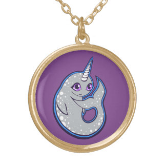 Gray Narwhal Whale With Spots Ink Drawing Design Gold Plated Necklace