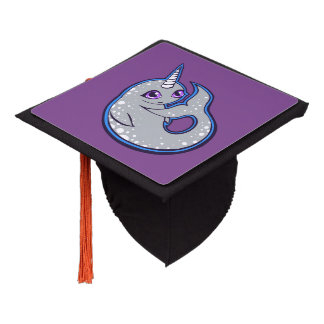Gray Narwhal Whale With Spots Ink Drawing Design Graduation Cap Topper