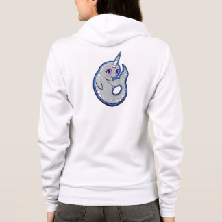 Gray Narwhal Whale With Spots Ink Drawing Design Hoodie