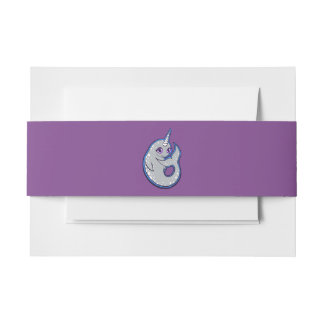 Gray Narwhal Whale With Spots Ink Drawing Design Invitation Belly Band