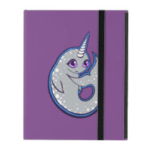 Gray Narwhal Whale With Spots Ink Drawing Design iPad Case