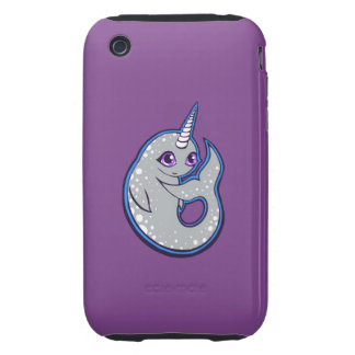 Gray Narwhal Whale With Spots Ink Drawing Design iPhone 3 Tough Cover