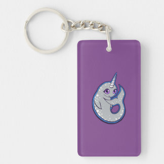 Gray Narwhal Whale With Spots Ink Drawing Design Keychain