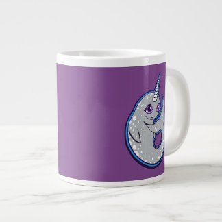 Gray Narwhal Whale With Spots Ink Drawing Design Large Coffee Mug