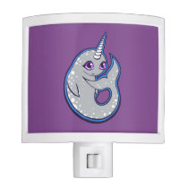 Gray Narwhal Whale With Spots Ink Drawing Design Night Light