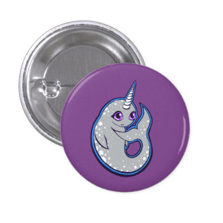 Gray Narwhal Whale With Spots Ink Drawing Design Pinback Button