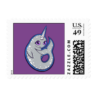 Gray Narwhal Whale With Spots Ink Drawing Design Postage