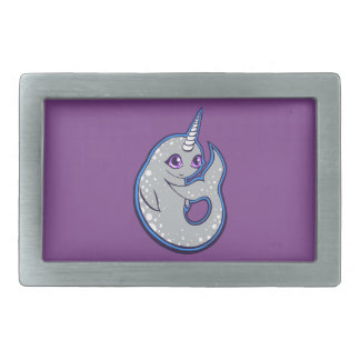 Gray Narwhal Whale With Spots Ink Drawing Design Rectangular Belt Buckle