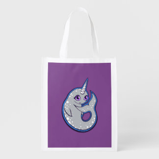 Gray Narwhal Whale With Spots Ink Drawing Design Reusable Grocery Bag