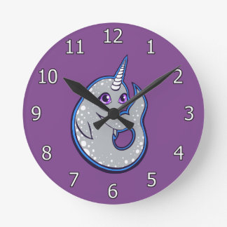 Gray Narwhal Whale With Spots Ink Drawing Design Round Clock