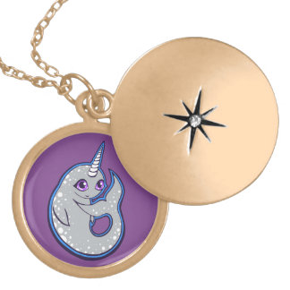 Gray Narwhal Whale With Spots Ink Drawing Design Round Locket Necklace