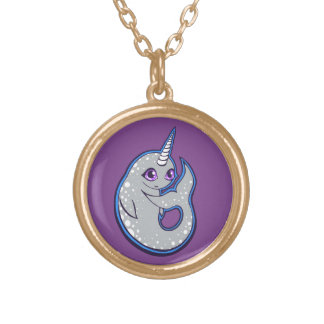 Gray Narwhal Whale With Spots Ink Drawing Design Round Pendant Necklace