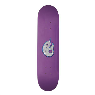 Gray Narwhal Whale With Spots Ink Drawing Design Skateboard