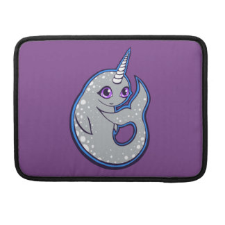 Gray Narwhal Whale With Spots Ink Drawing Design Sleeves For MacBook Pro