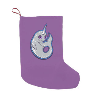 Gray Narwhal Whale With Spots Ink Drawing Design Small Christmas Stocking