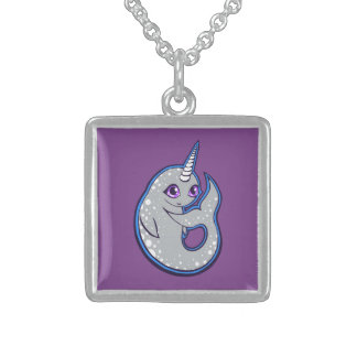 Gray Narwhal Whale With Spots Ink Drawing Design Square Pendant Necklace