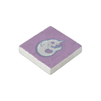 Gray Narwhal Whale With Spots Ink Drawing Design Stone Magnet