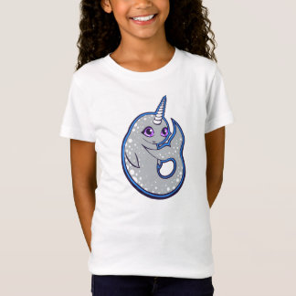 Gray Narwhal Whale With Spots Ink Drawing Design T-Shirt