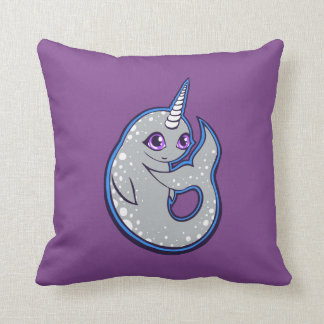 Gray Narwhal Whale With Spots Ink Drawing Design Throw Pillow