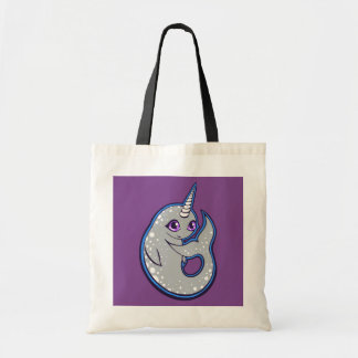 Gray Narwhal Whale With Spots Ink Drawing Design Tote Bag