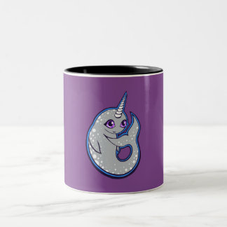 Gray Narwhal Whale With Spots Ink Drawing Design Two-Tone Coffee Mug