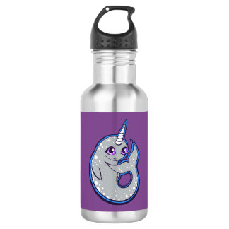 Gray Narwhal Whale With Spots Ink Drawing Design Water Bottle