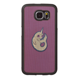 Gray Narwhal Whale With Spots Ink Drawing Design Wood Phone Case