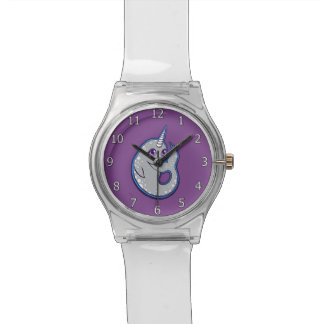 Gray Narwhal Whale With Spots Ink Drawing Design Wristwatch