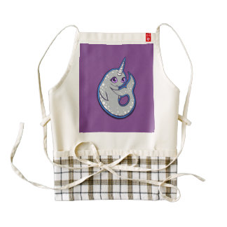 Gray Narwhal Whale With Spots Ink Drawing Design Zazzle HEART Apron