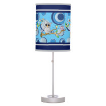 Gray & Navy Blue Circle Polka Dots with Owls Desk Lamp