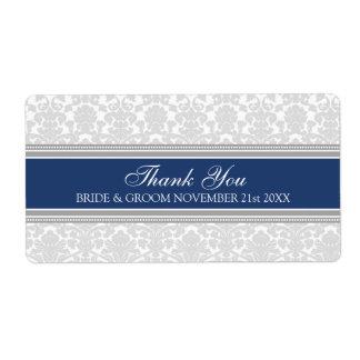 Gray Navy Blue Damask Wedding Labels