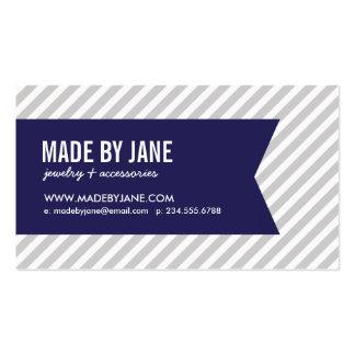 Gray Navy Blue Modern Stripes Ribbon Business Card Templates