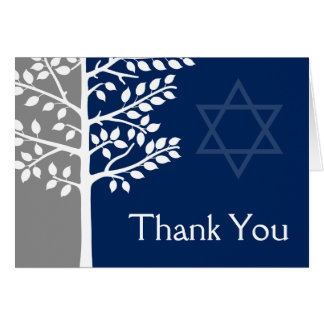 Gray Navy Blue Tree of Life Bar Mitzvah Thank You Card