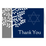 Gray Navy Blue Tree of Life Bar Mitzvah Thank You Stationery Note Card