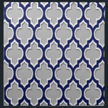 "Gray, Navy Blue White Moroccan Quatrefoil #4DS Cloth Napkin<br><div class=""desc"">Gray, Navy Blue and White Moroccan Quatrefoil Lattice Pattern #4DS You can customize this with your own text and / or images if you so choose to make your own unique design. If you would like this design in other colors, just drop us an email. 2014 &#169;FantabulousPatterns All rights reserved...</div>"