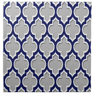 Gray, Navy Blue White Moroccan Quatrefoil #4DS Cloth Napkin