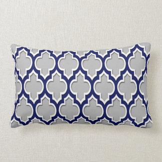 Gray, Navy Blue White Moroccan Quatrefoil #4DS Lumbar Pillow
