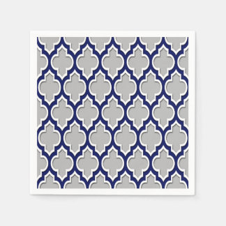 Gray, Navy Blue White Moroccan Quatrefoil #4DS Napkin
