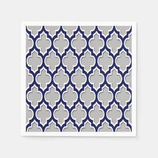 Gray, Navy Blue White Moroccan Quatrefoil #4DS Standard Cocktail Napkin
